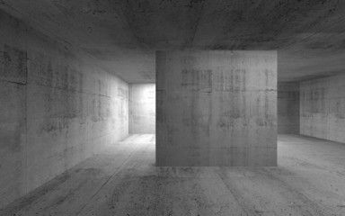 Abstract empty dark concrete interior. 3d render illustration