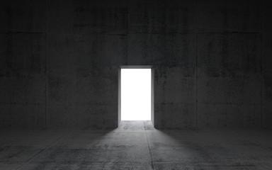 Abstract dark concrete interior with glowing door, 3d illustrati