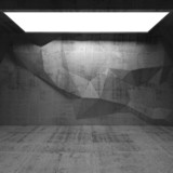 Abstract concrete interior with polygonal pattern on the wall