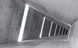 Empty abstract concrete interior, 3d render of pitched tunnel
