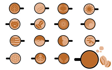 Set of the Art Image of Cappuccino and Coffee vectors and icons
