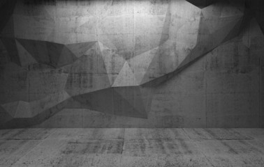Abstract dark concrete interior with polygonal pattern on the wa