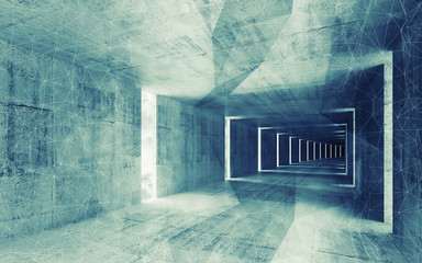 3d render, green blue toned abstract empty concrete interior bac