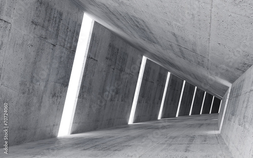 Empty abstract concrete interior, 3d render of pitched tunnel - 70724060