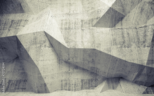 Abstract toned concrete 3d interior with polygonal pattern on th - 70724094