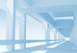 Abstract architecture 3d background with perspective view of blu