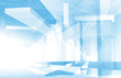 Abstract architecture 3d background with blue constructions and