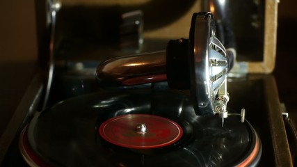 Stock Video Footage Gramophone Phonograph
