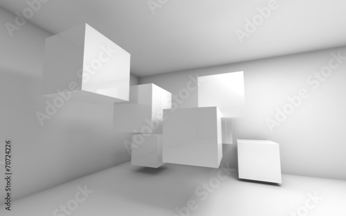 Fototapeta Abstract empty 3d interior with white flying cubes