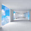 Abstract 3d architecture, empty corridor with sky on background