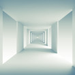 Abstract architecture 3d background, empty corridor perspective