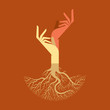 This vector background has a hand with tree roots