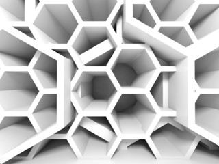 Abstract white honeycomb structure. 3d render background