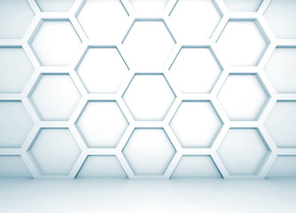 Blue abstract 3d interior with honeycomb pattern on the wall