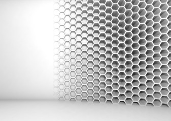 Abstract white 3d interior with honeycomb pattern on the wall