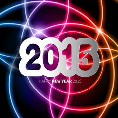 Happy New Year 2015 on blurred background with papercut year, ve