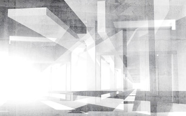 Abstract white 3d interior perspective background illustration
