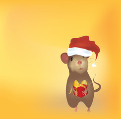 Christmas Card with Mouse and Present with Golden Ribbon