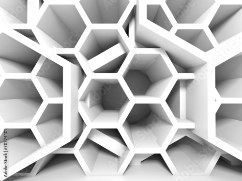 Abstract white honeycomb structure. 3d render background - 70724401