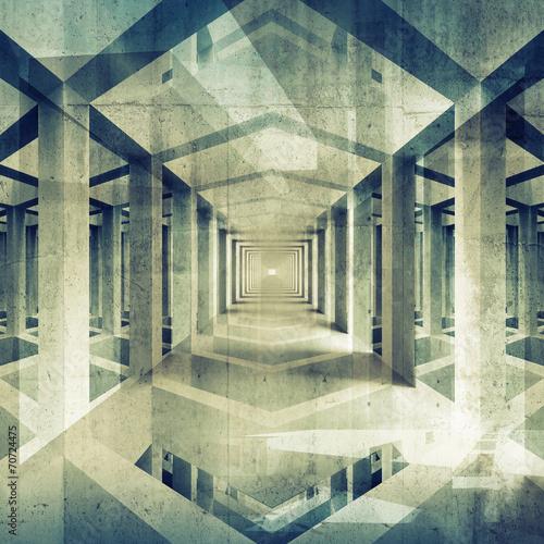 Dark abstract architecture 3d background. Concrete interior - 70724475