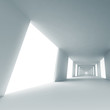 Empty blue corridor. Abstract architecture 3d background