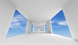 Abstract 3d architecture, empty white corridor and blue sky