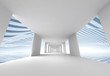 Abstract 3d architecture background, empty white corridor