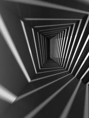 Abstract dark 3d interior background with light beams