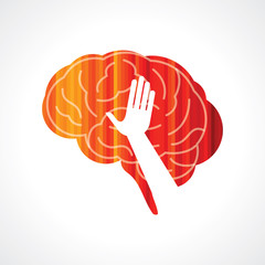 brain with hand creative concept