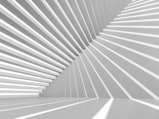 Abstract white 3d interior background with staircase