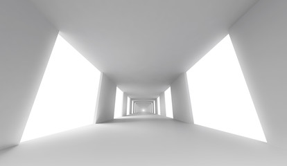 Empty white corridor. Abstract architecture 3d background