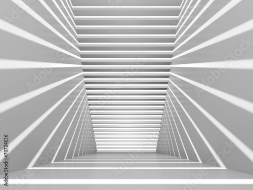 Abstract white 3d interior with staircase and light beams