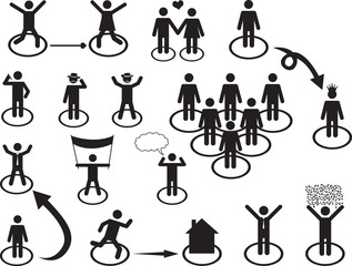 Set of pictogram people activities illustrated on white