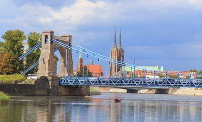 Grunwaldzki Bridge, view towards Ostrow Tumski, Wroclaw,Poland