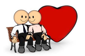Paar auf Parkbank mit Herz