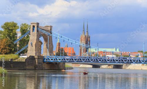 Grunwaldzki Bridge, view towards Ostrow Tumski, Wroclaw,Poland - 70724853