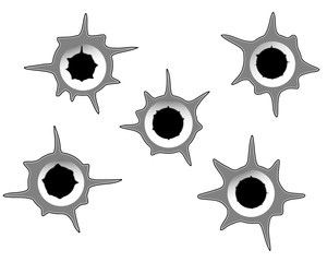 different bullet holes