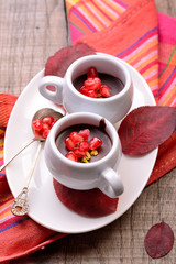chocolate cream with pomegranate seeds on a wooden table