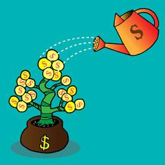 watering a money tree
