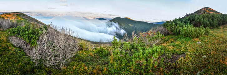 Above the clouds mountain panorama