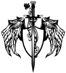 sword and winged shield design