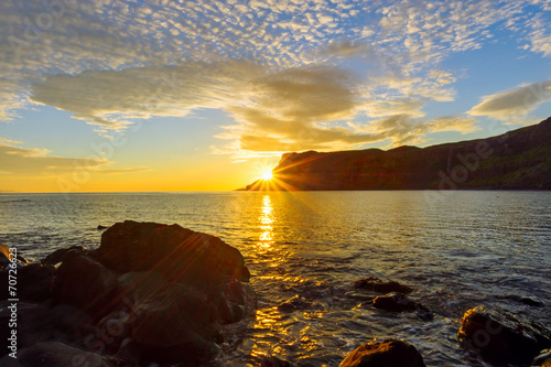 canvas print picture Sunset on the Isle of Skye in Scotland