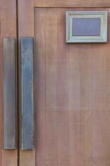wood door with label