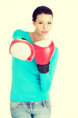 Woman ready for fight with adversity concept.