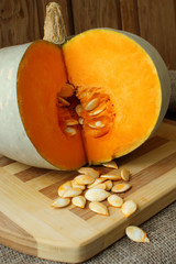 Pumpkin, cut with seeds inside.