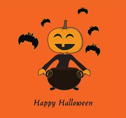 Pumpkin with cauldron