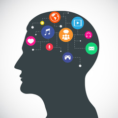 Head of Communication and Media Flat Icons - Illustration