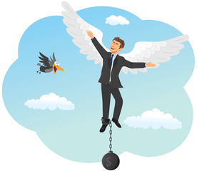 Businessman soars on the wings of success.