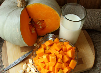Pumpkin, diced for cooking recipe and a glass of milk.