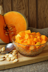 Pumpkin, diced for cooking recipe.
